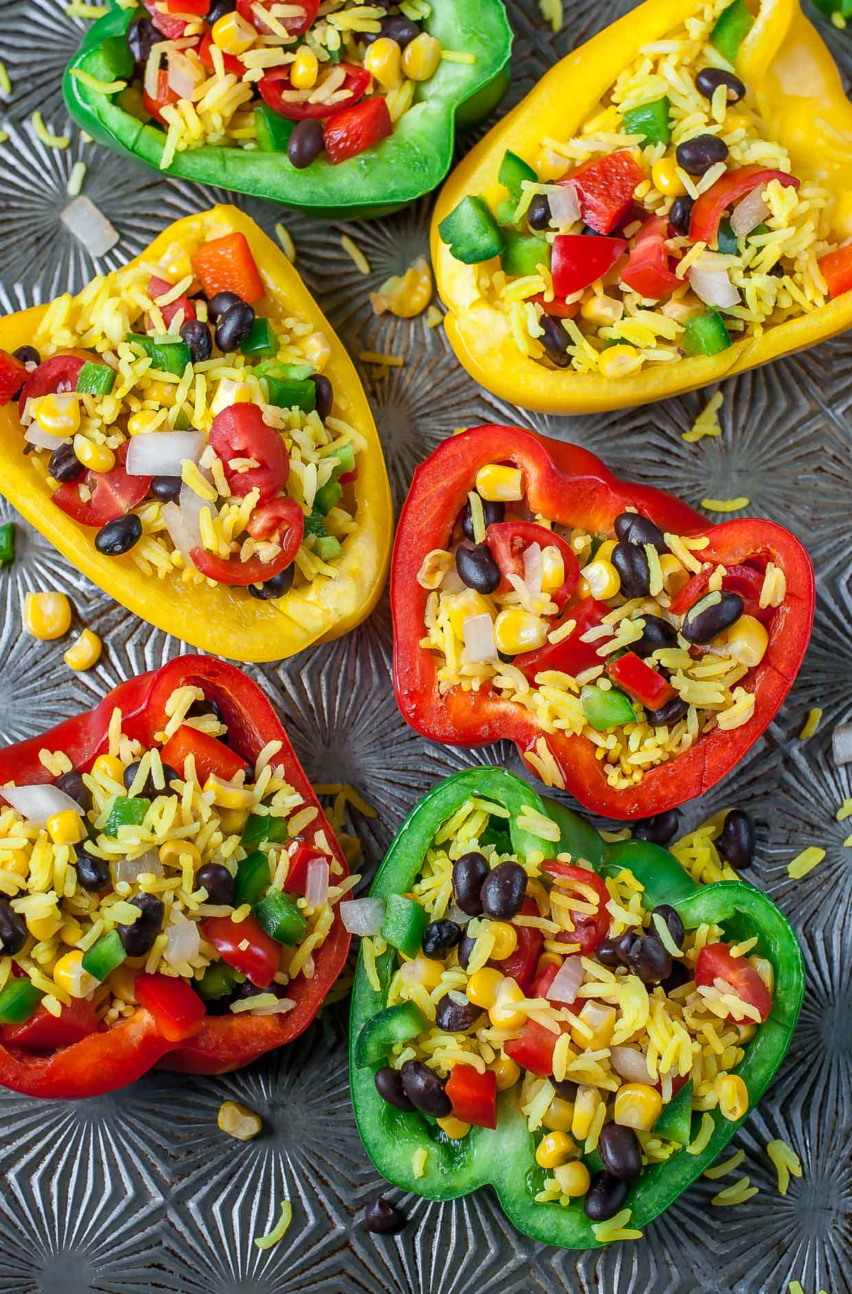Healthy Stuffed Peppers with veggies and rice