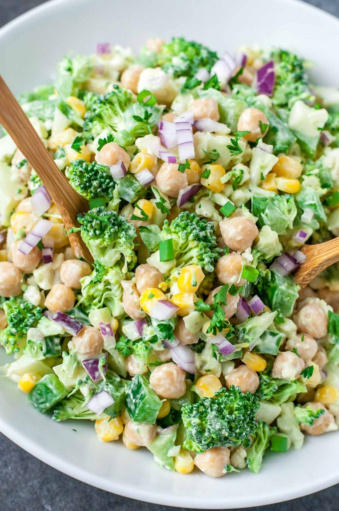 Chopped Cauliflower Broccoli Salad with Creamy Avocado Dressing