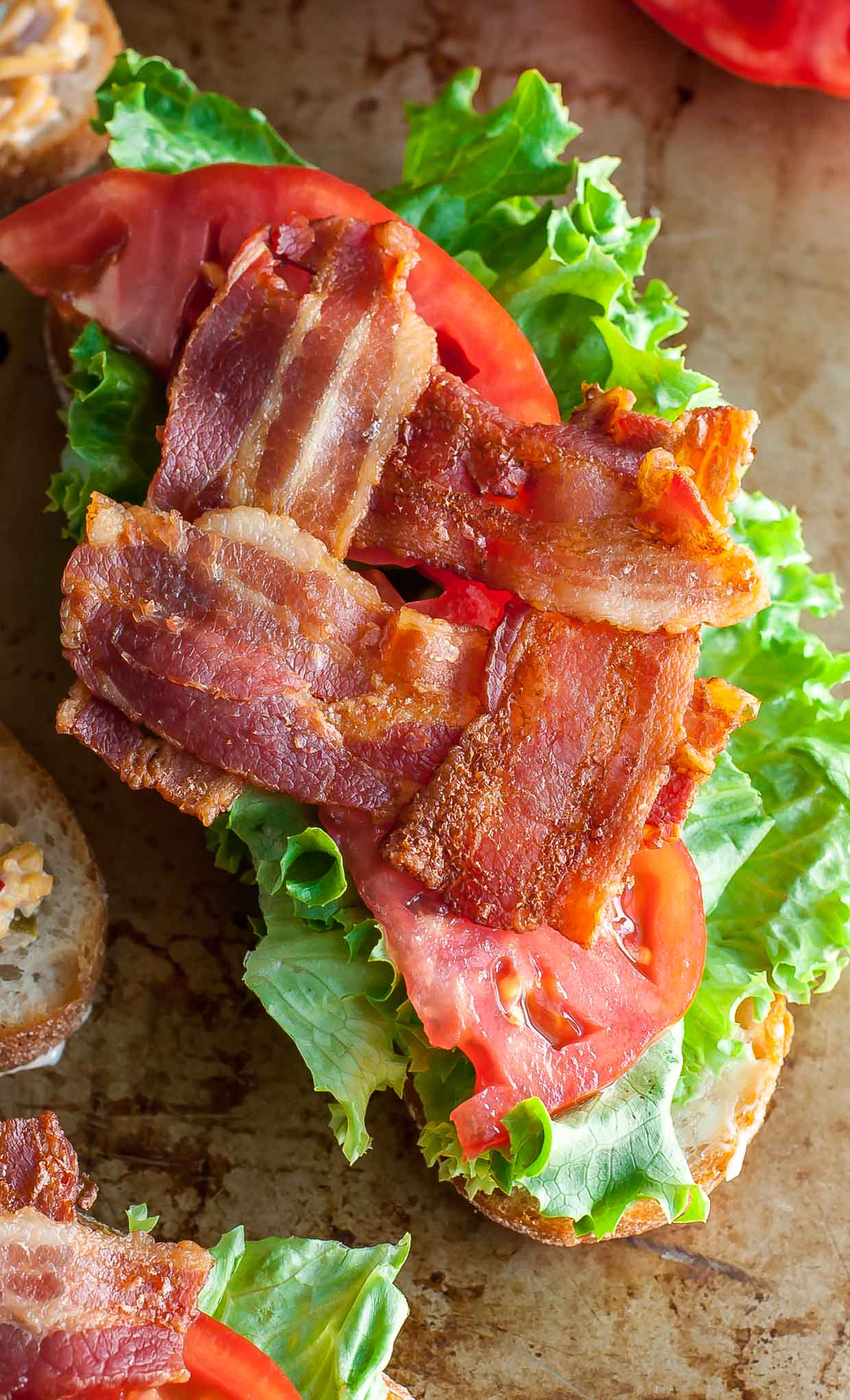 Bacon lettuce and tomato sandwich open faced
