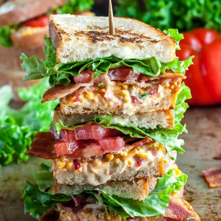 This glorious stacked sandwich is piled high with smoky bacon, crisp lettuce, and creamy pimento cheese for the ultimate Pimento Cheese BLT experience!