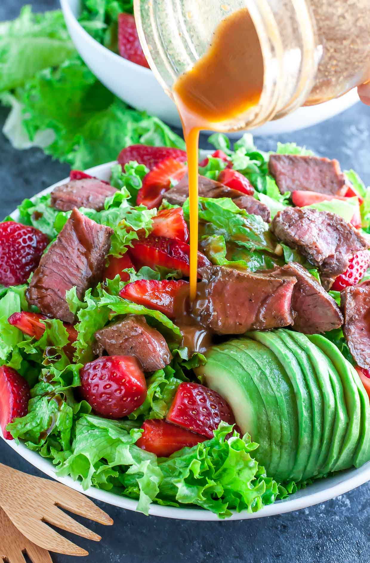 Ready in under 25 minutes, this Strawberry Steak Salad with Homemade Balsamic Dressing is quick and easy enough for lunch or weeknight dinner! It's a little bit sweet, a little bit savory, and a whole lot of deliciousness in every bite!