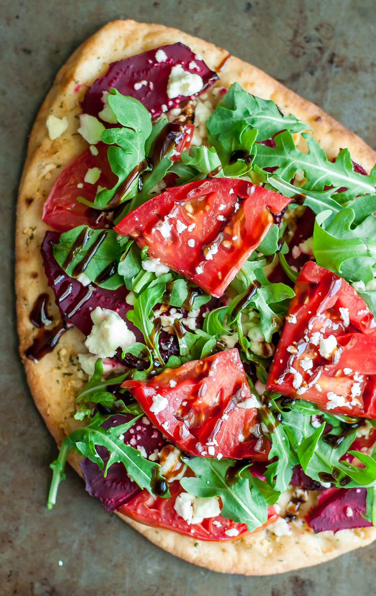 Beetza!!! Garlicky Flatbread Pizza with Beets, Balsamic, and Feta