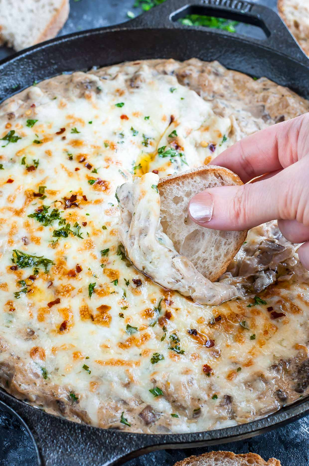 Fancy without the fuss, this piping hot caramelized onion mushroom dip is a total hit at parties! Skip the cheese board and pair your favorite wine with a fresh baguette and this deliciously cheesy dip!