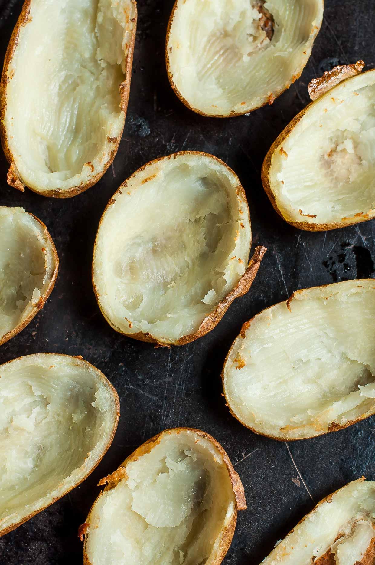 Healthy Mediterranean Potato Skins with Roasted Garlic Hummus