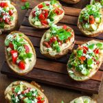 Healthy Mediterranean Potato Skins with Roasted Garlic Hummus