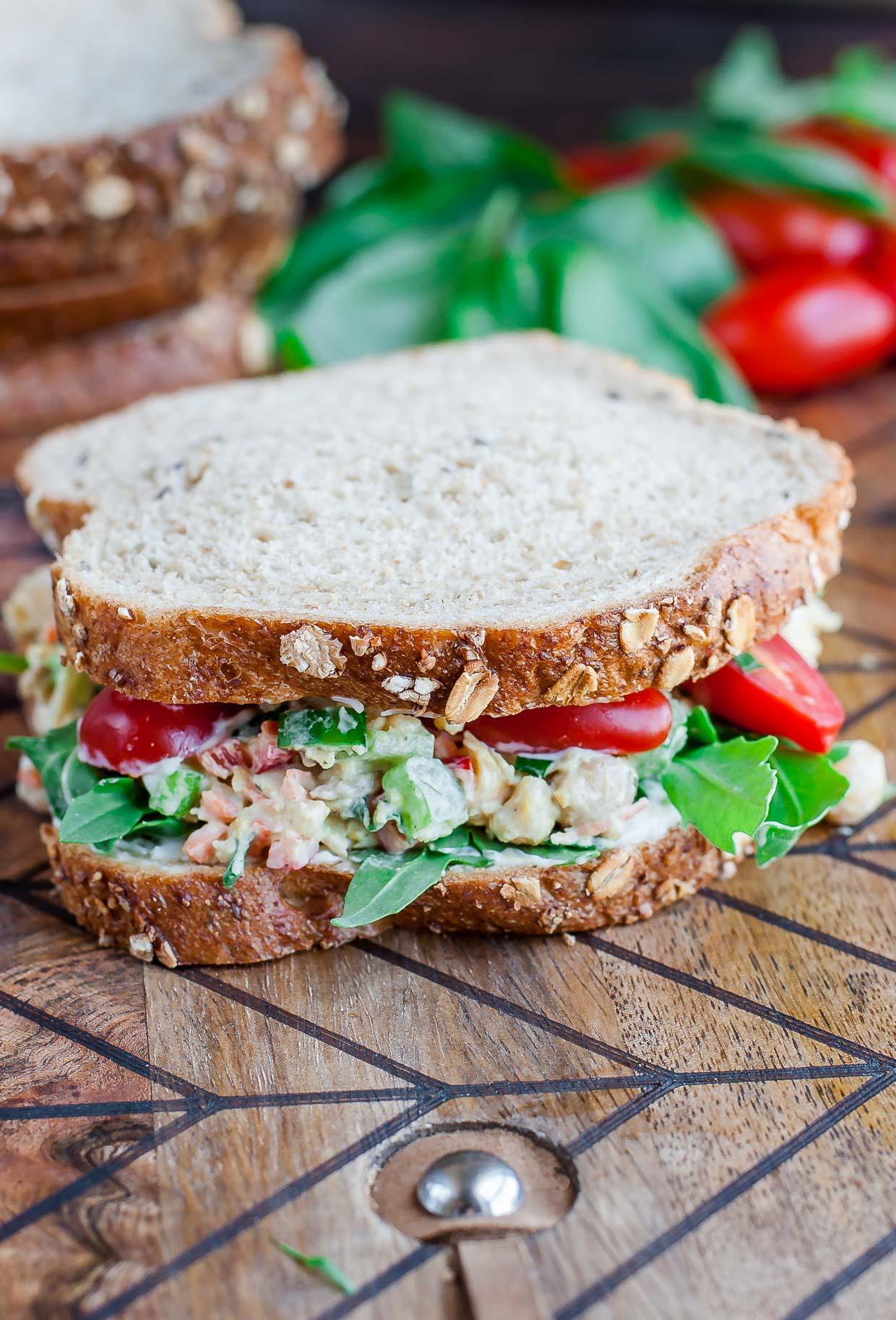 Tomato Basil Chickpea Salad Sandwich