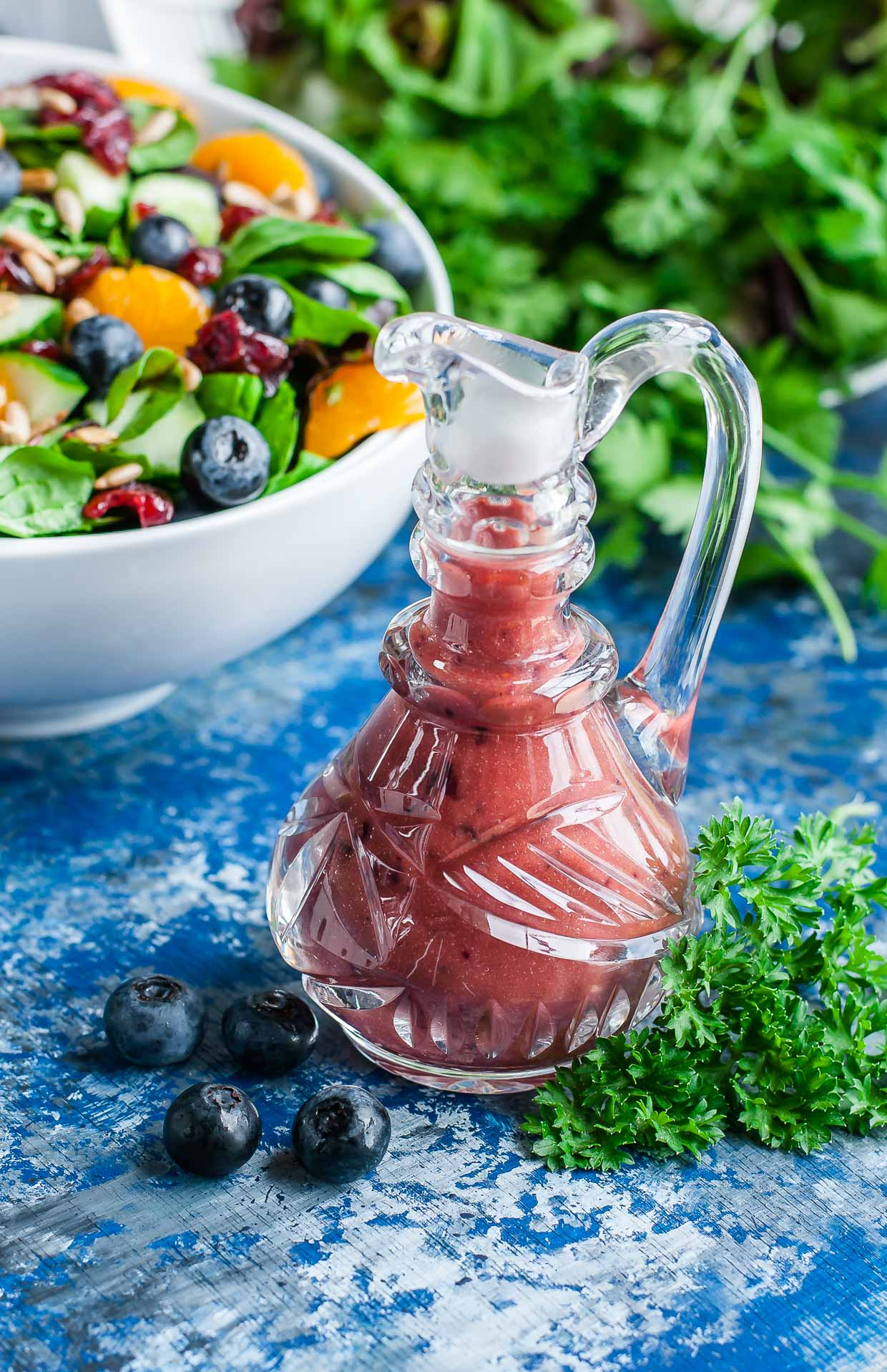 Cranberry Blueberry Spring Mix Salad with Blueberry Balsamic Dressing