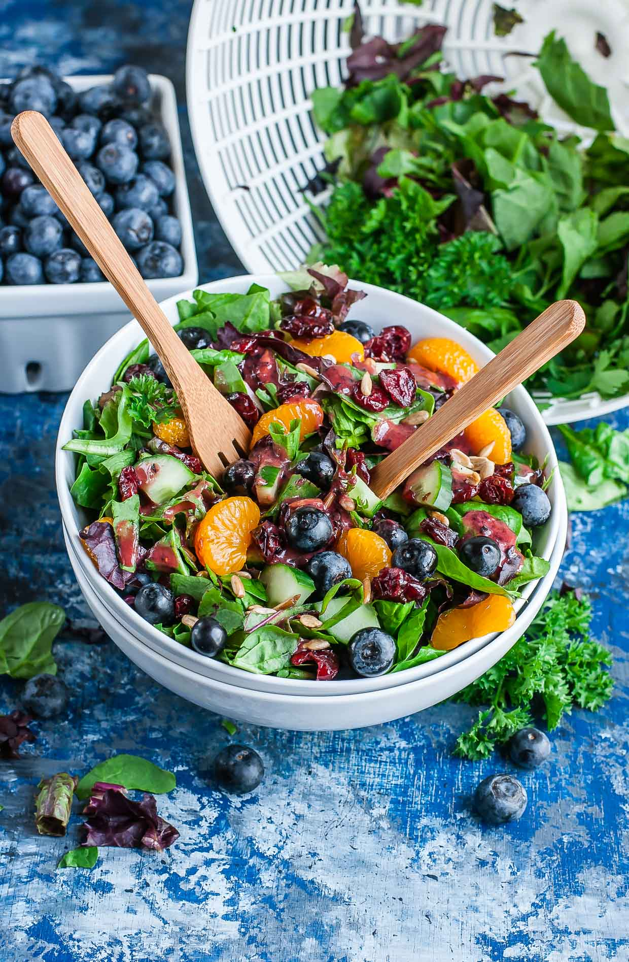 Cranberry Blueberry Salad topped with Blueberry Balsamic Dressing