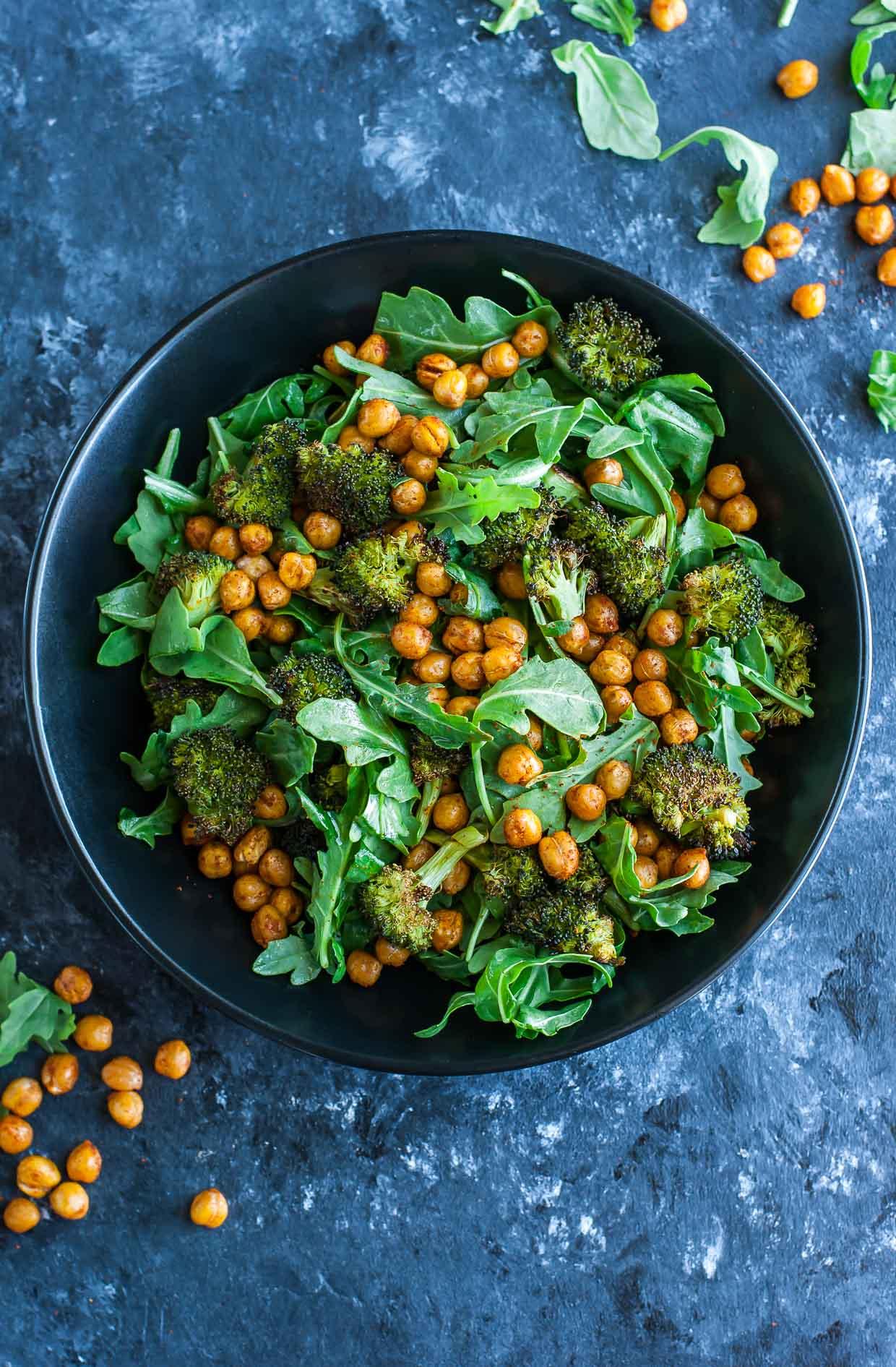 Roasted Broccoli Chickpea Arugula Salad