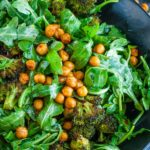 This tasty Roasted Broccoli Chickpea Arugula Salad is tossed with a healthy homemade lemon dressing and ready to rock your salad game!