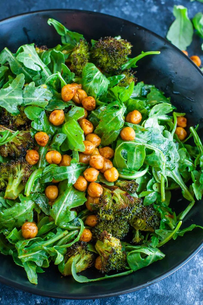Roasted Broccoli Chickpea Arugula Salad