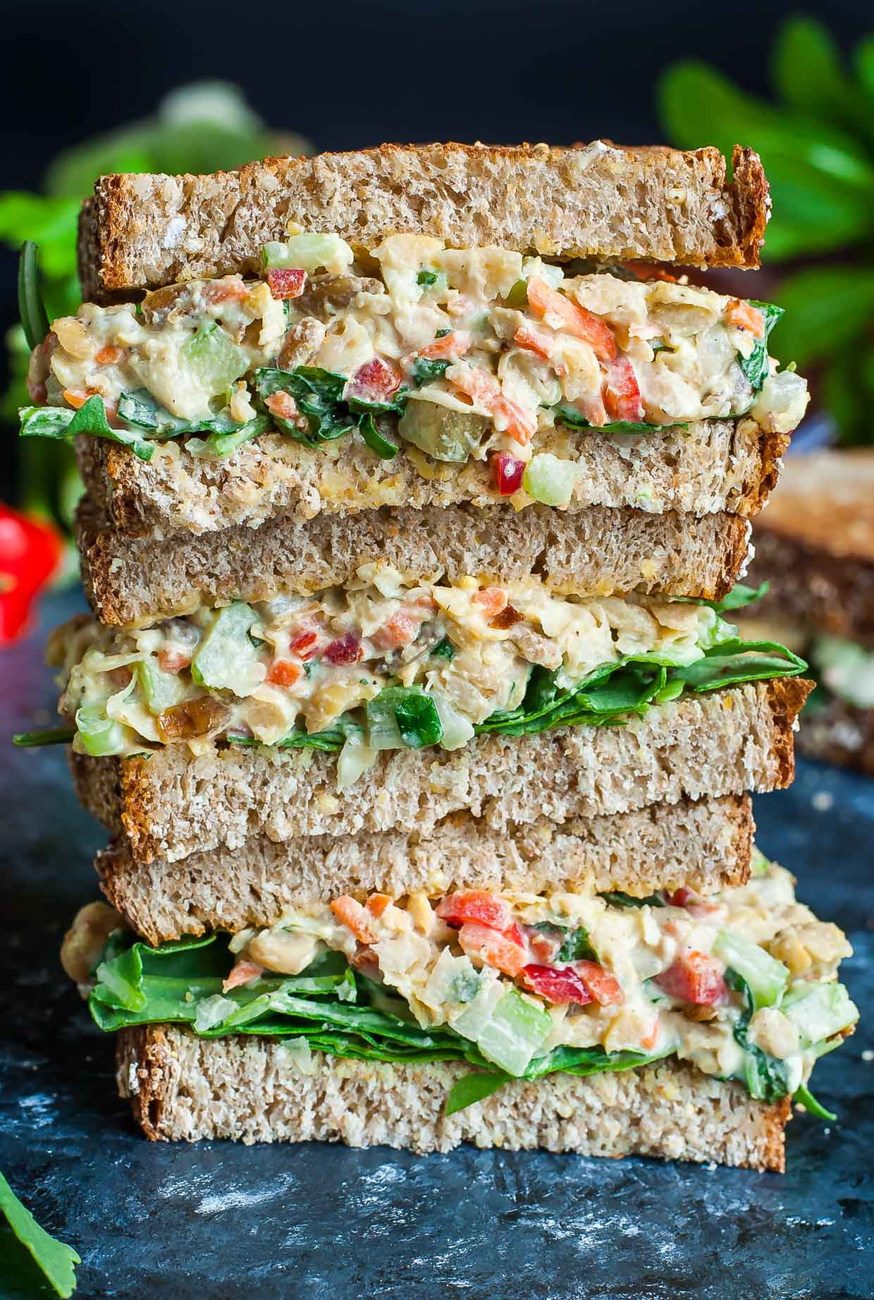 Vegetarian Chickpea Salad Sandwich Stack