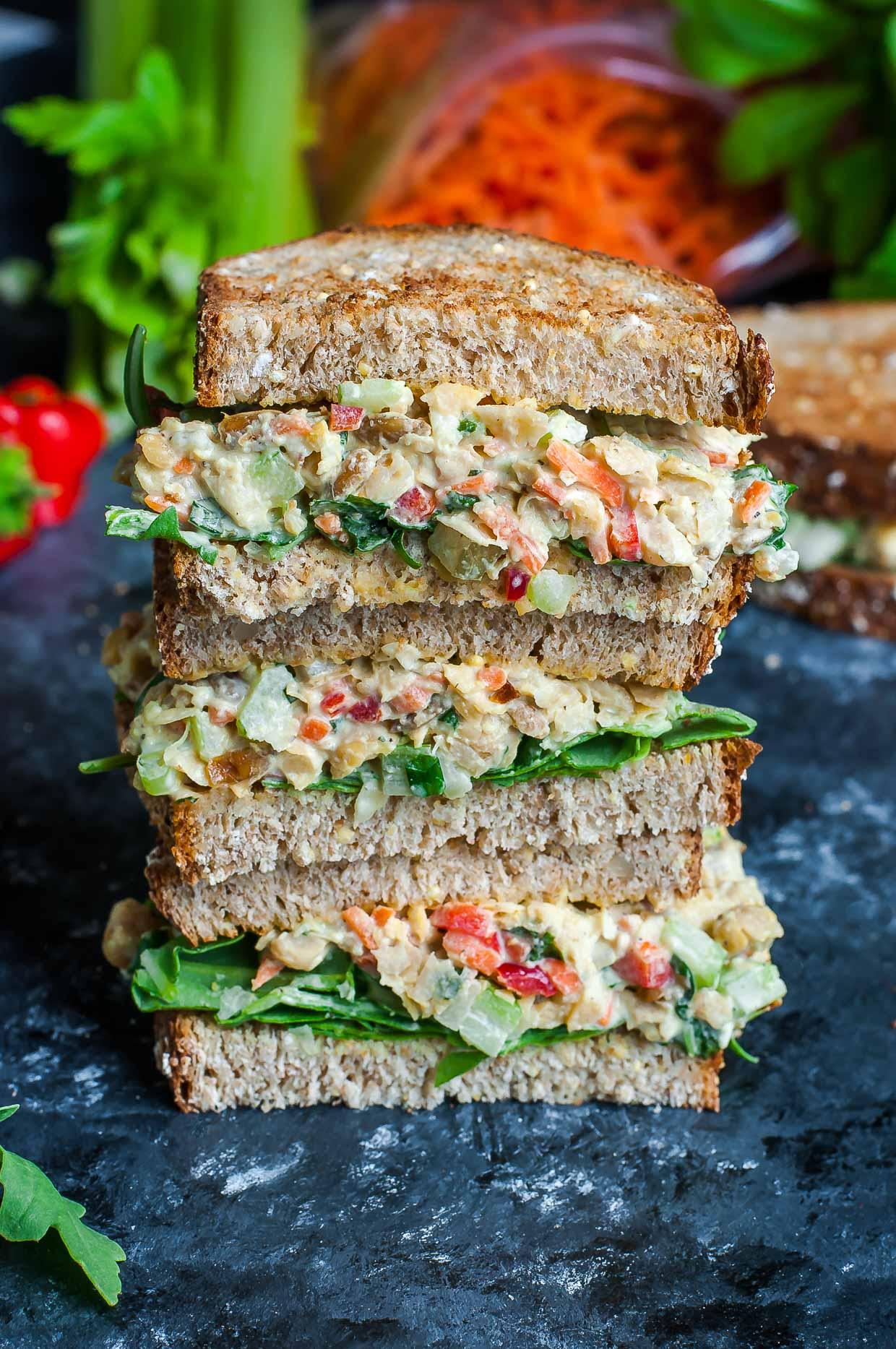 garden veggie chickpea salad sandwich peas and crayons