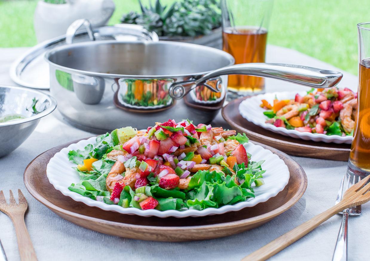 Zesty Cilantro Lime Shrimp Salad with Strawberry Salsa