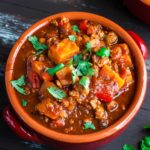 Smoky Chipotle Turkey and Sweet Potato Chili; this uber easy and crazy flavorful chili recipe has both Instant Pot and stove top instructions!