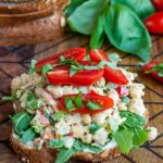 Tomato Basil Chickpea Salad Sandwich FTW! Whip up this scrumptious chickpea salad in advance for speedy make-ahead lunches or picnic eats.