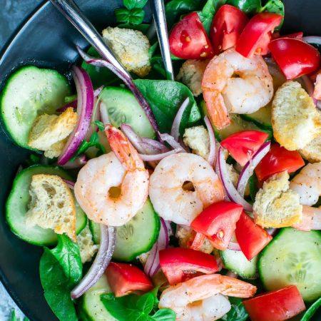 Shrimp Panzanella Spinach Salad