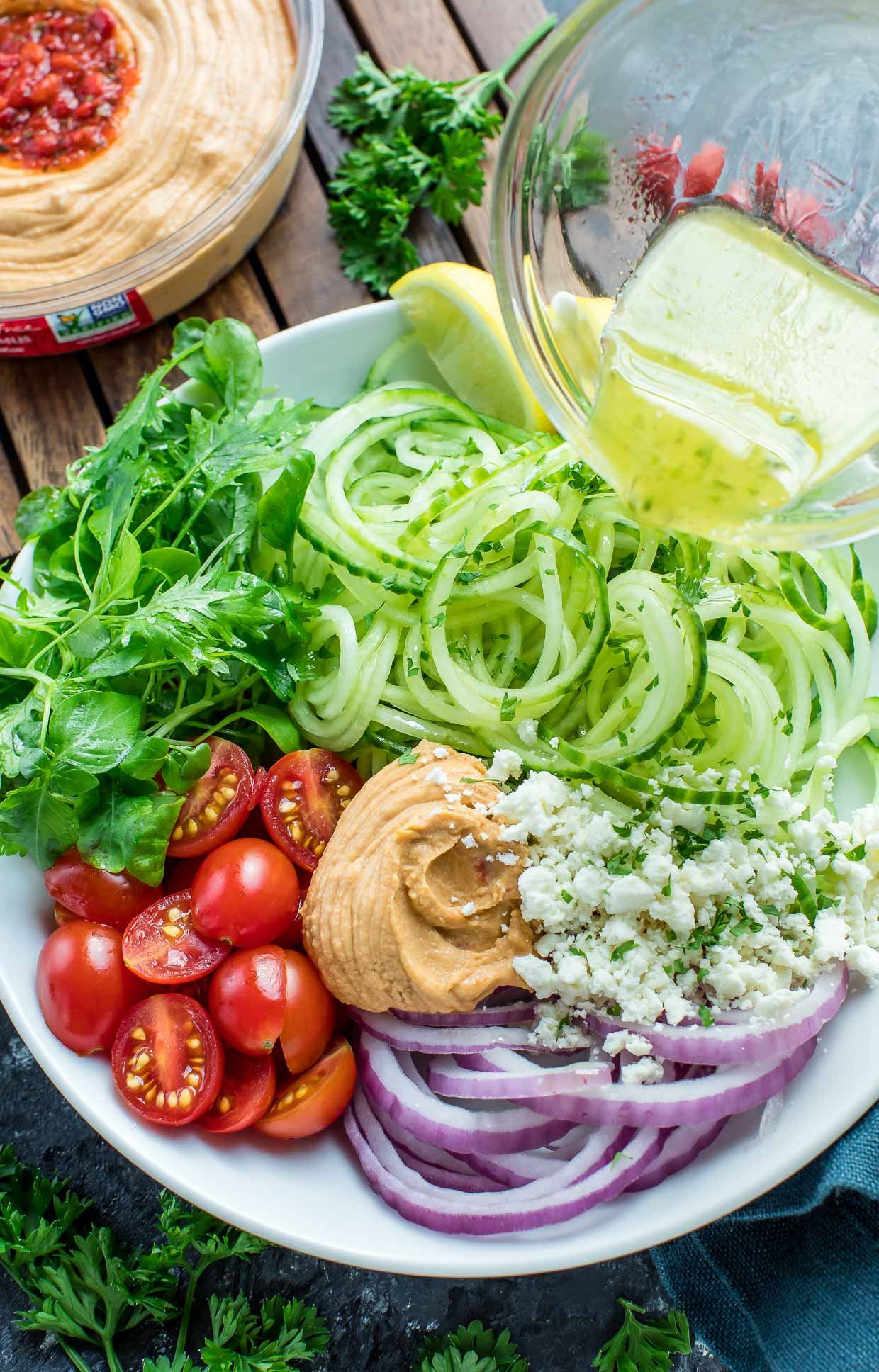 This Greek Spiralized Cucumber Salad features cucumber noodles for a sassy spiralized salad that's refreshing and delicious!