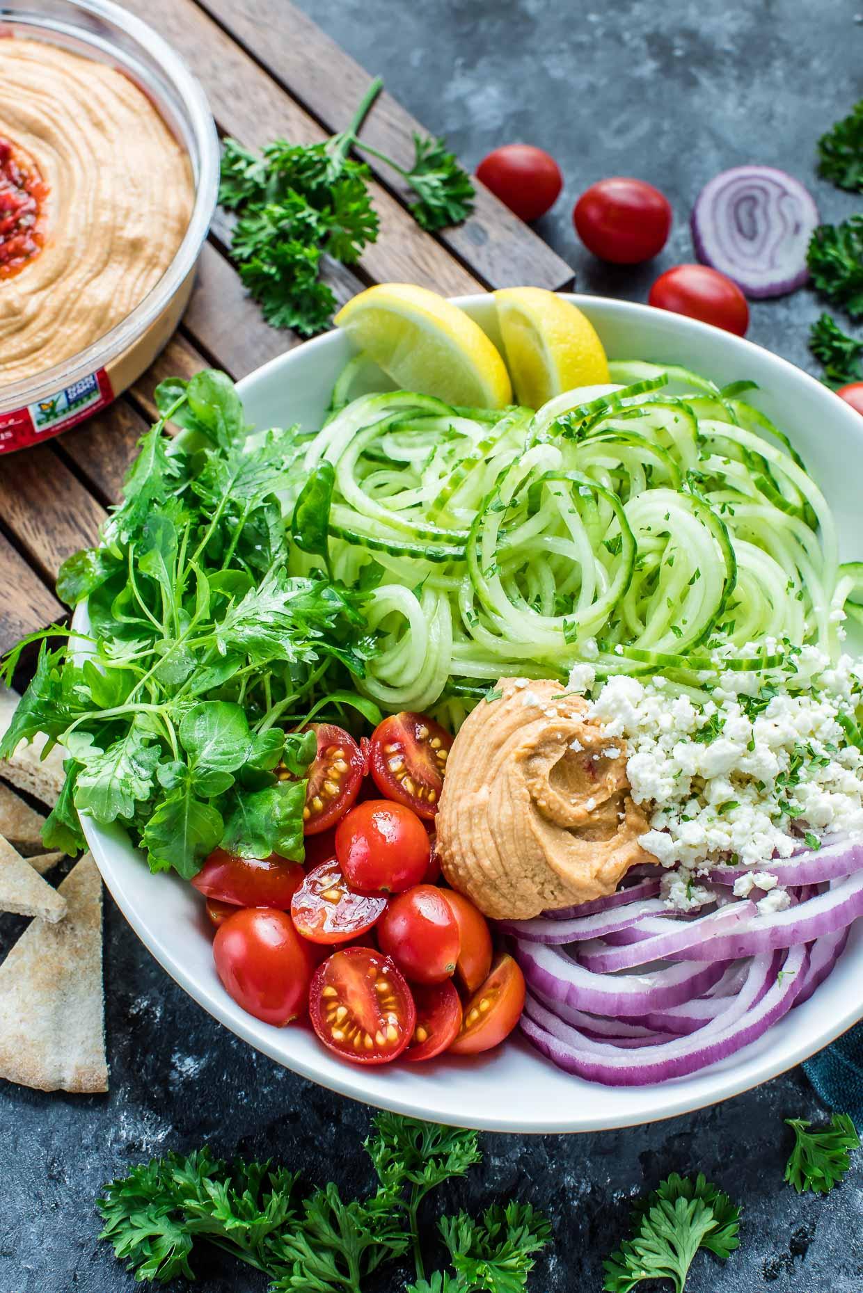 Greek Spiralized Cucumber Salad