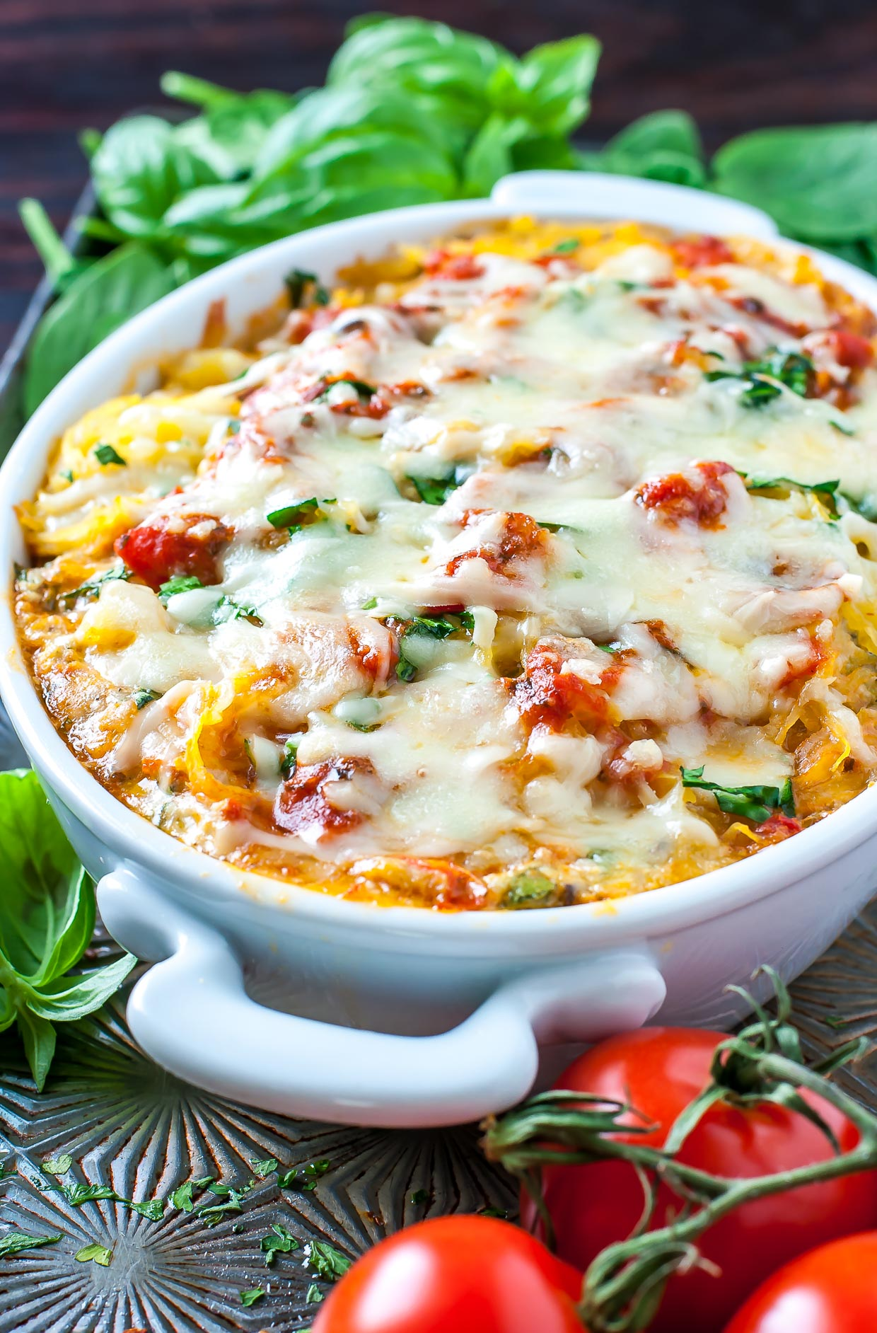 This Cheesy Vegetarian Spaghetti Squash Casserole channels all the flavor of our favorite Italian lasagna recipe with a healthy low-carb twist! GF