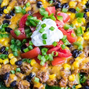 One Pan Cheesy Zucchini Taco Skillet