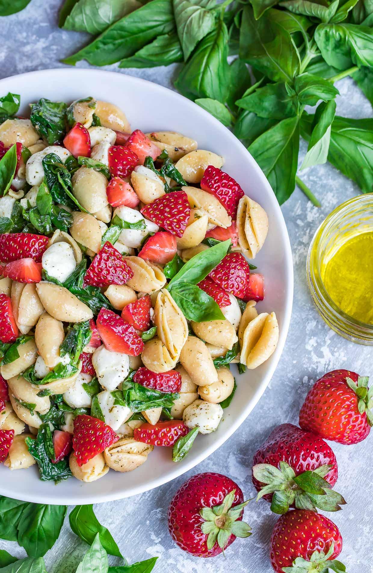Caprese  Strawberry Pasta Salad