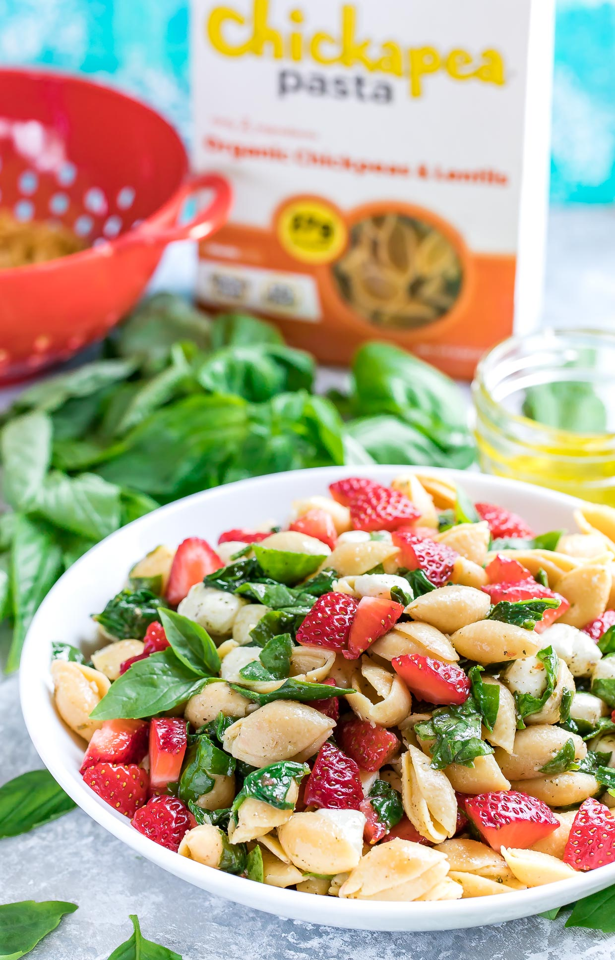 Pasta Salad Bowl with Basil and Dressing