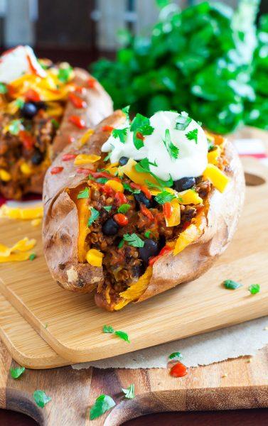 Healthy Chili Stuffed Sweet Potatoes