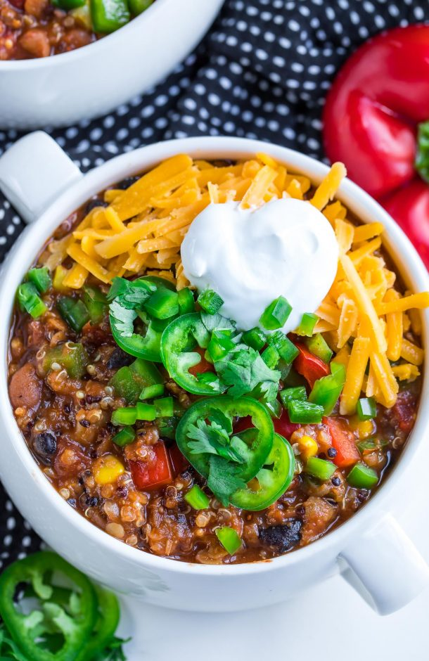 This Instant Pot Vegetarian Quinoa Chili is a comfort food classic with a healthy plant-based twist! To make things user-easy I've even included slow cooker and stove-top instructions too. Game on!