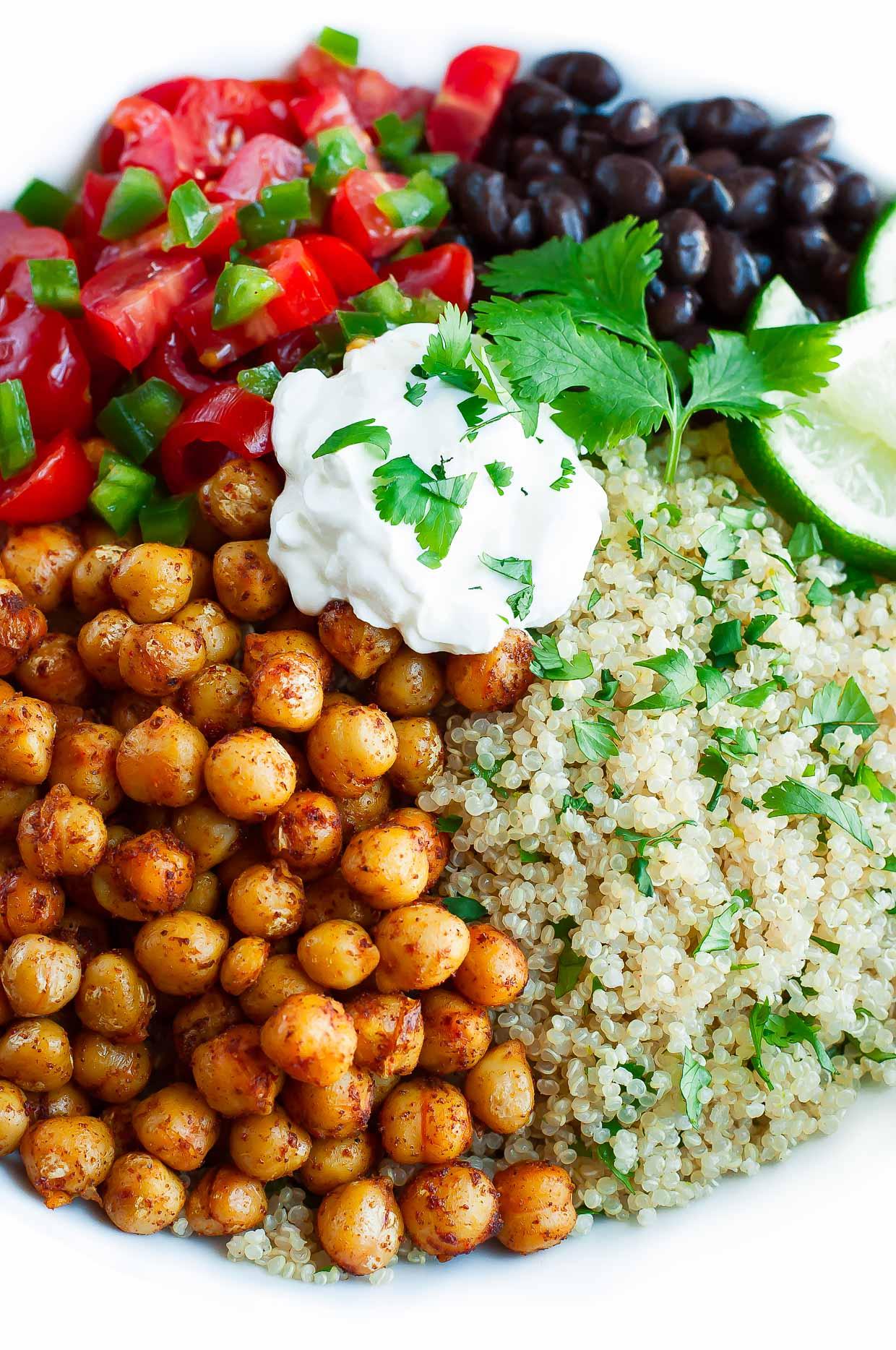 Roasted Chickpea Quinoa Taco Bowls