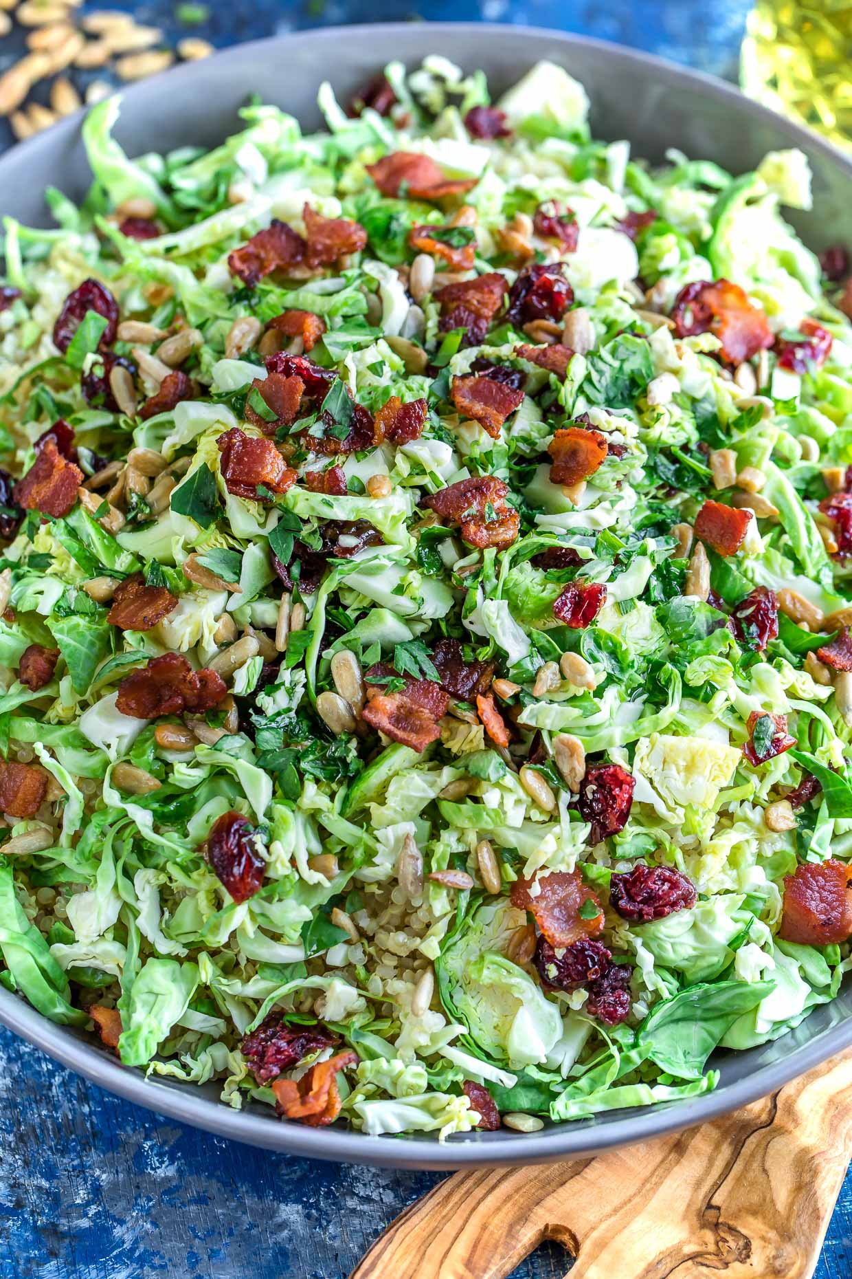 Apple Cranberry Brussels Sprout Salad with Maple Citrus Dressing