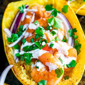 Buffalo Shrimp Spaghetti Squash with Paleo Ranch Dressing