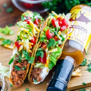 These gluten-free lentil veggie tacos are perfect for vegans, vegetarians, or anyone looking to cut back on meat. Meatless Monday and Taco Tuesday just got even better with these tasty plant based tacos!