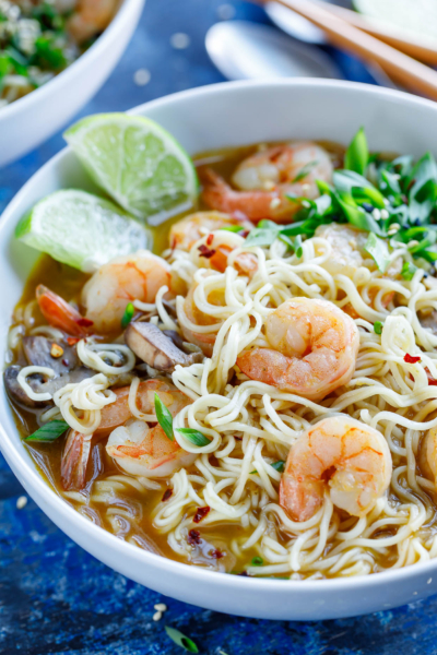 This piping hot Sriracha Shrimp Ramen Noodle Soup is quick, easy, and crazy delicious!