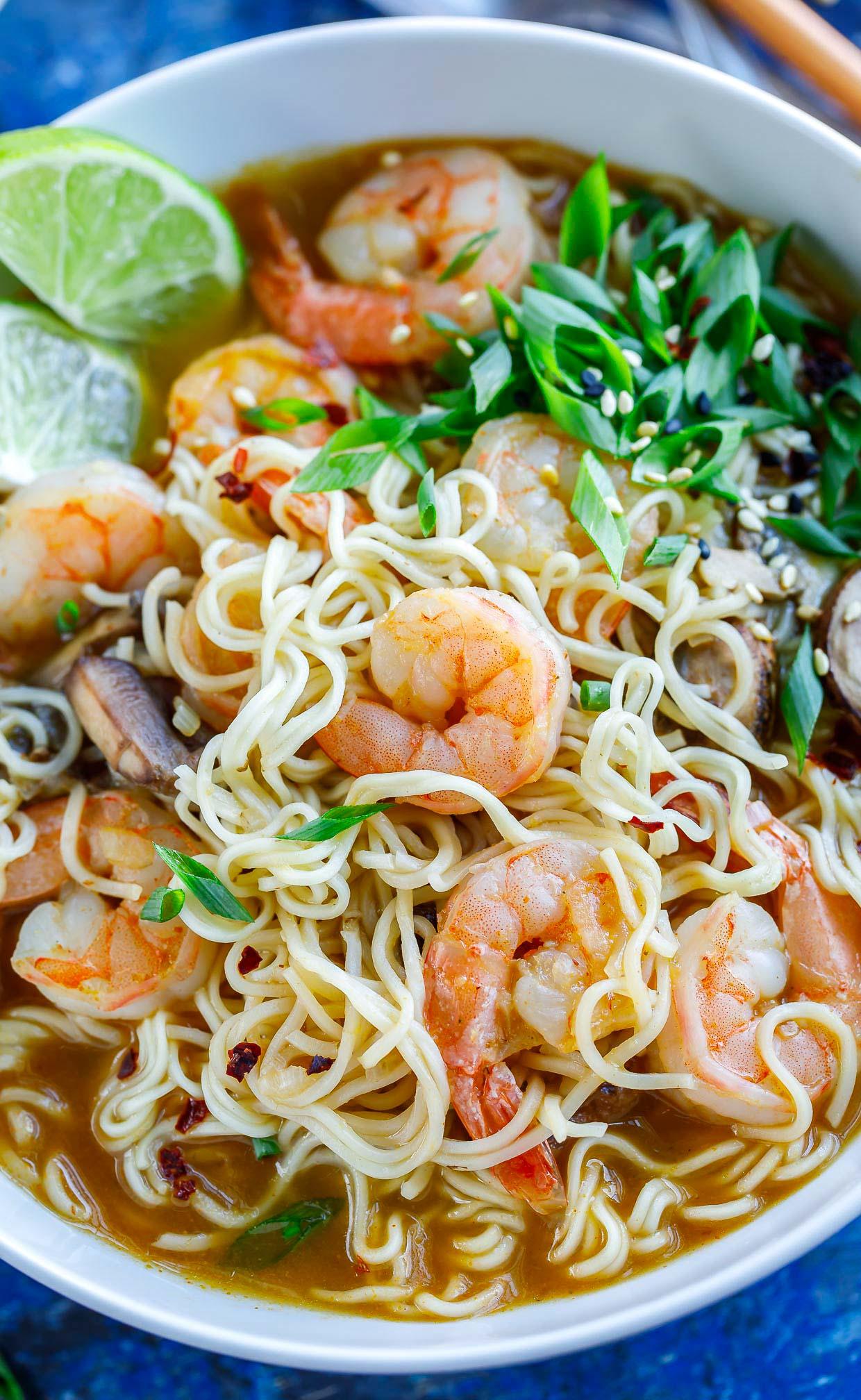 Sriracha Shrimp Ramen Noodle Soup