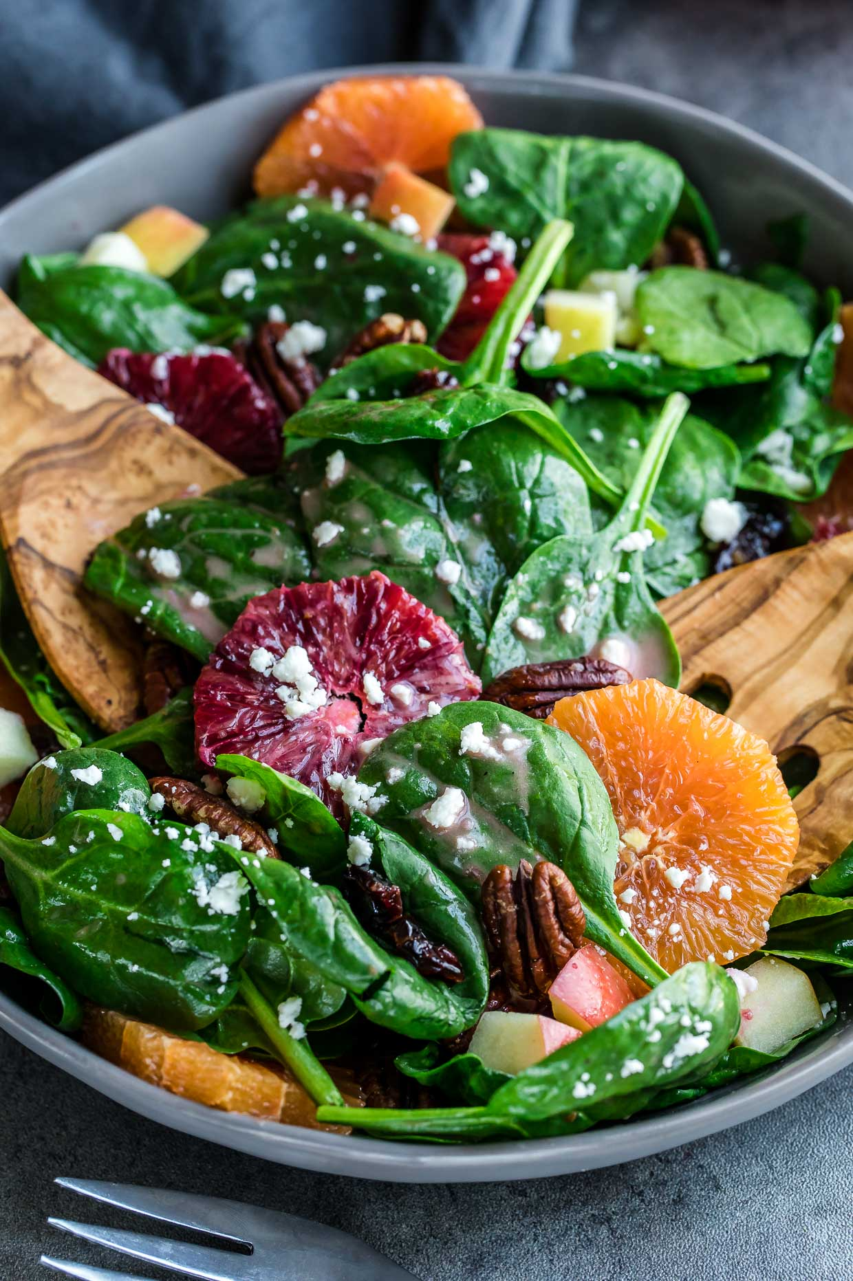 Apple Citrus Spinach Salad with Blood Orange Dressing