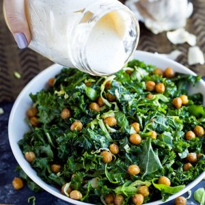 Kale Caesar salad with Crispy Garlic Chickpeas