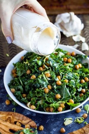 Kale Caesar salad with Crispy Garlic Chickpeas