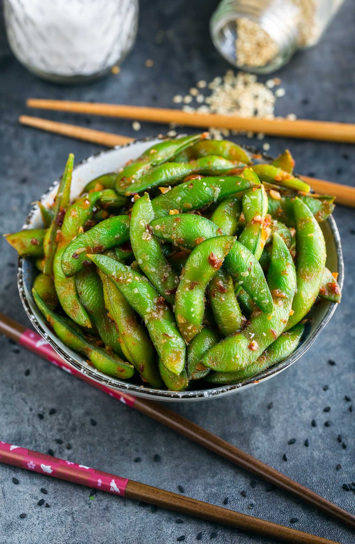 Spicy Sambal Edamame Appetizer - Peas and Crayons