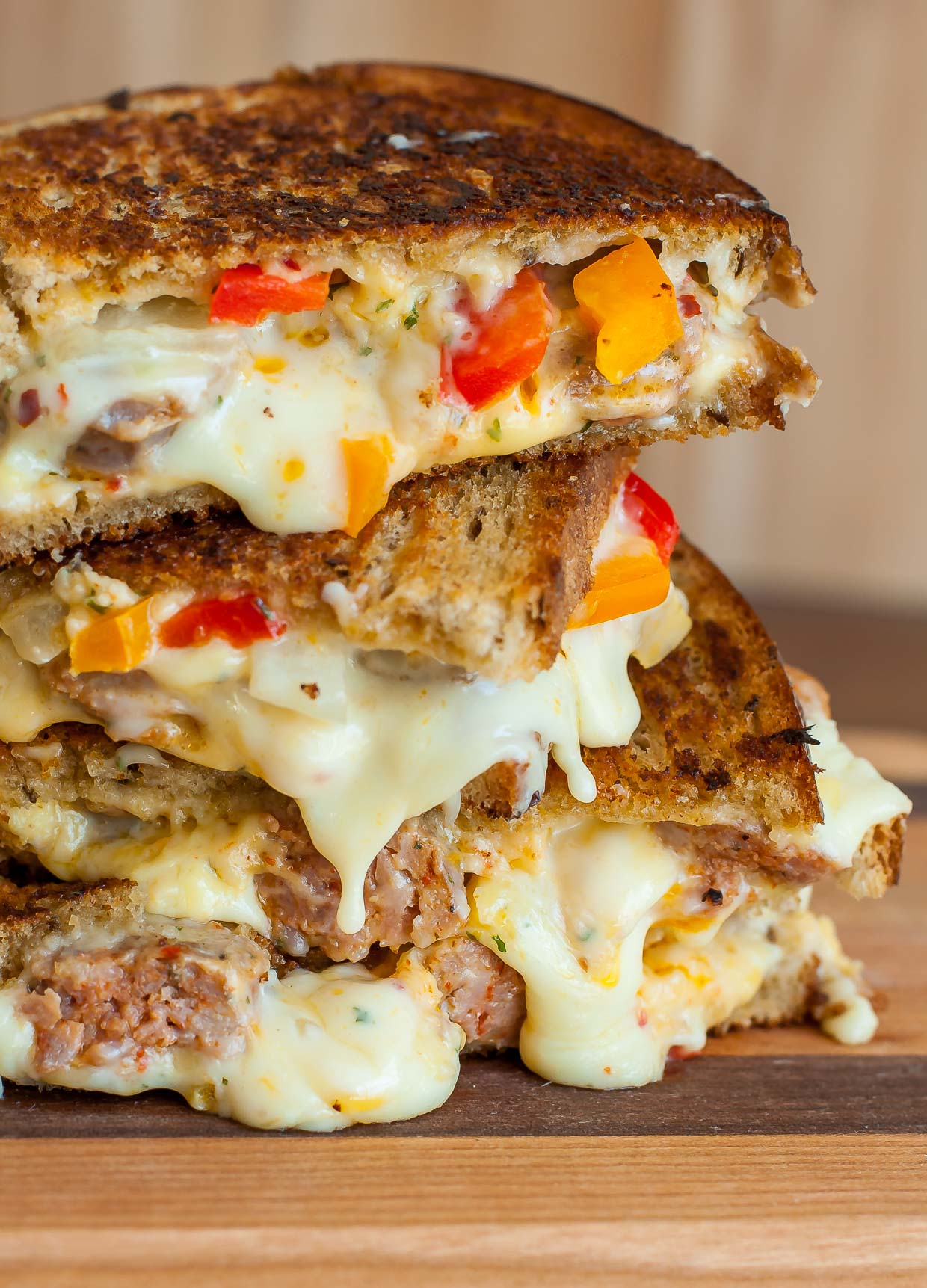 Sausage and Pepper Chipotle Grilled Cheese: tasty sausage and peppers packed into the cheesiest, meltiest grilled cheese ever! It's the best!