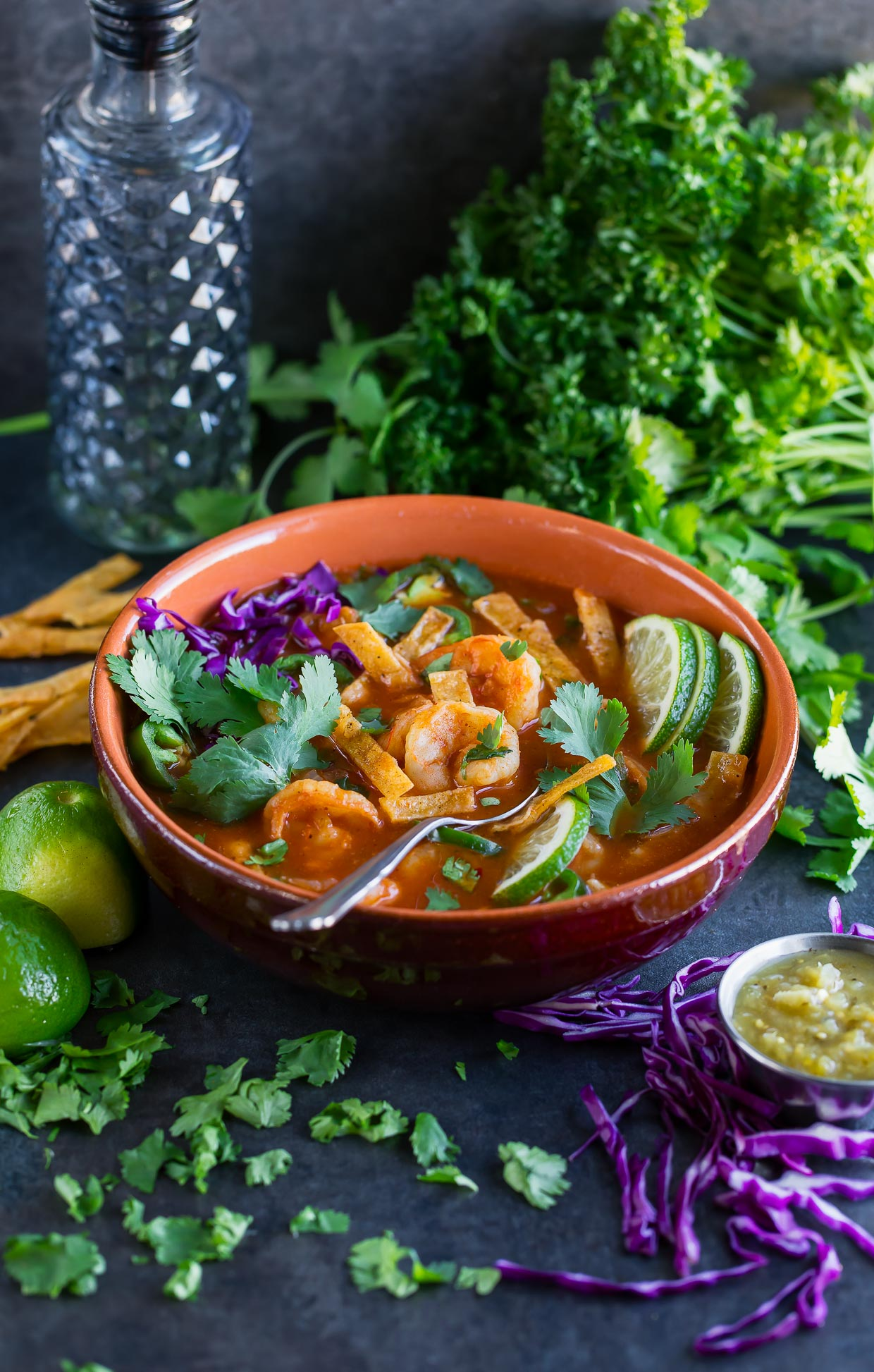 Spicy Shrimp Tortilla Soup ready in under 30 minutes and so crazy tasty! We are so totally in love with this delicious dairy-free soup.