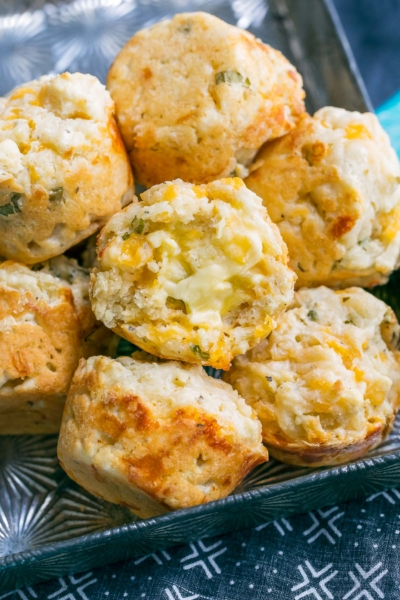 Savory Cheddar Muffins with Basil and Scallions