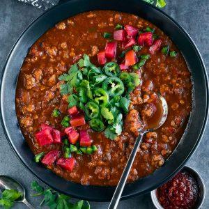 spicy harissa turkey chili bowl
