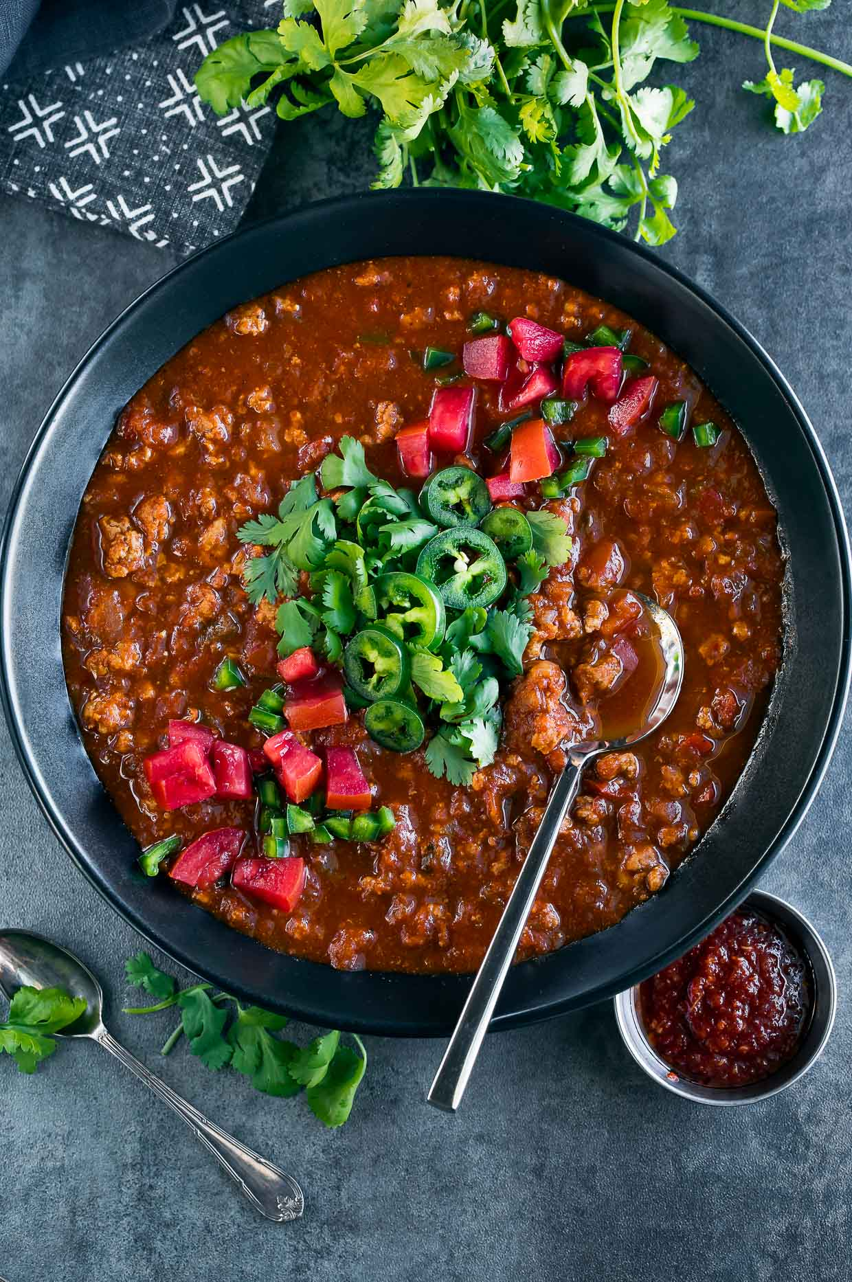 spicy harissa turkey chili bowl