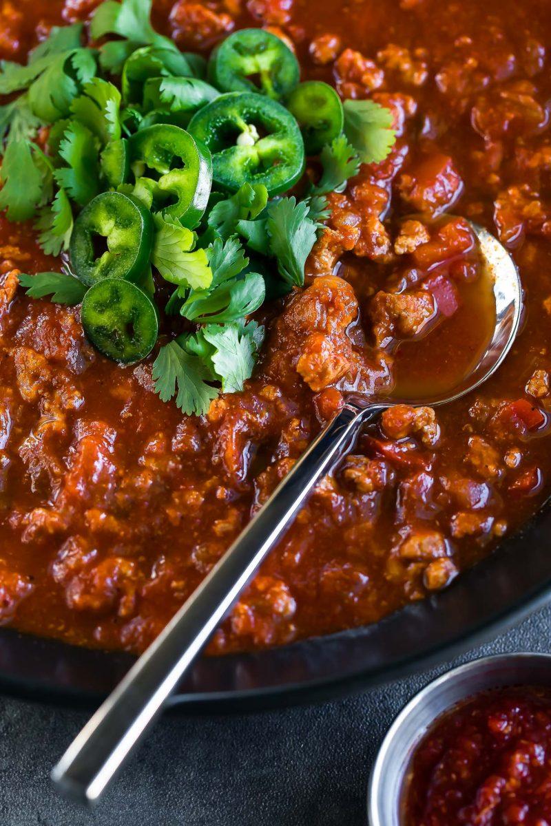 spicy harissa turkey chili bowl spoon