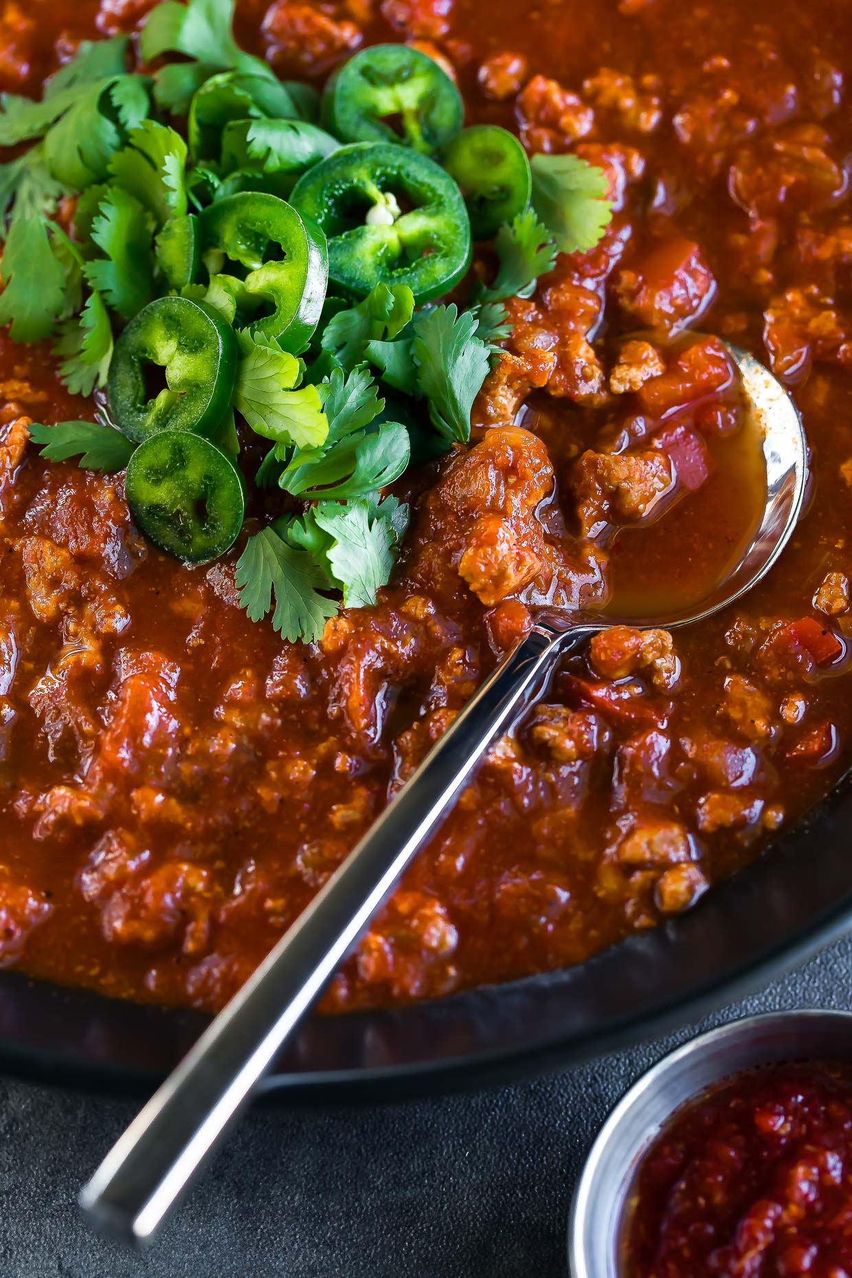 spicy harissa turkey chili bowl spoon