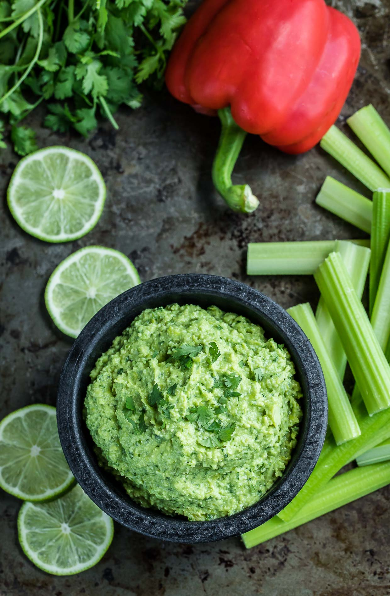 Cilantro Lime Edamame Dip in bowl with veggies