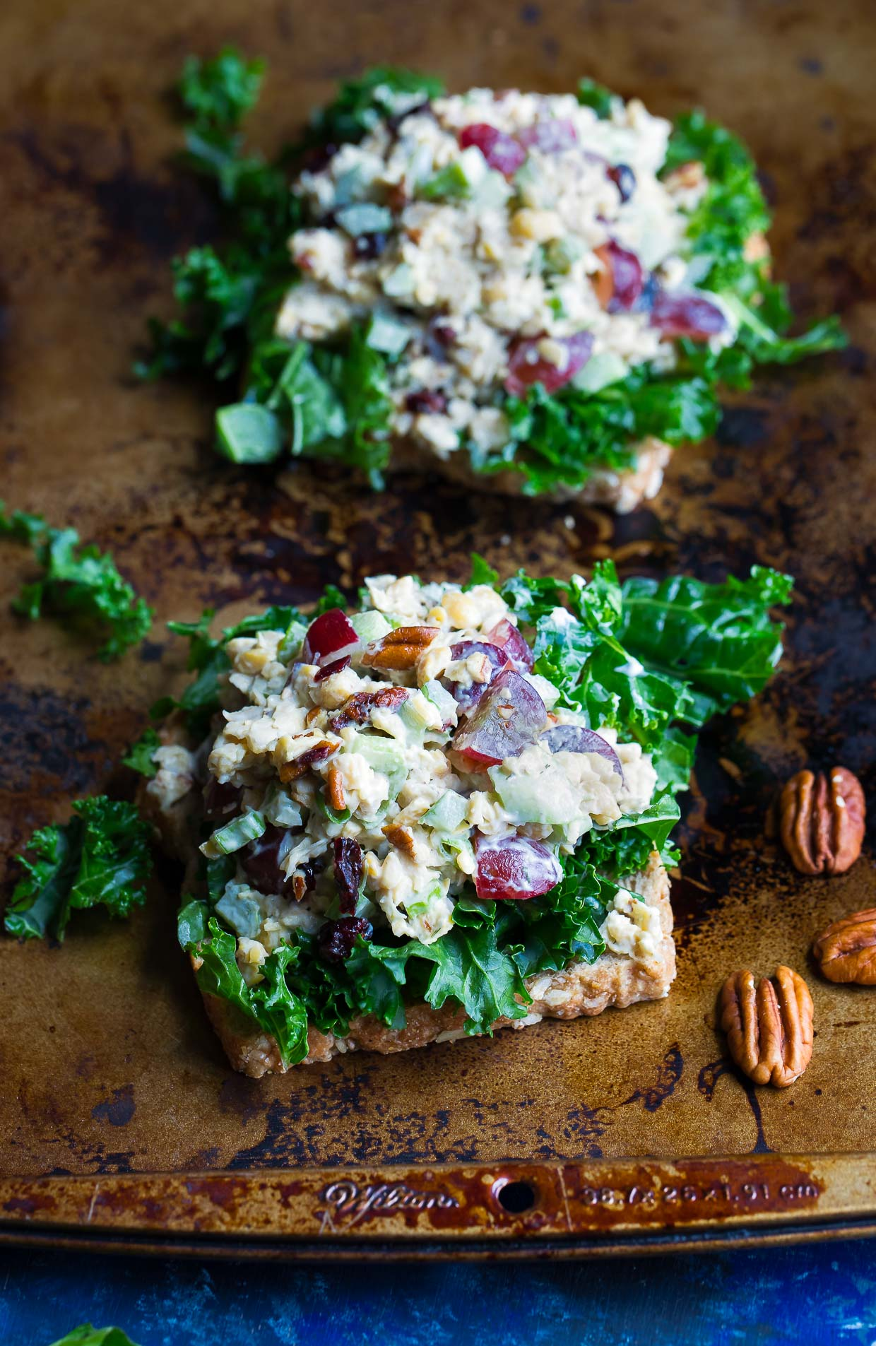 Cranberry Pecan Chickpea Salad Sandwich and Healthy Kale Salad
