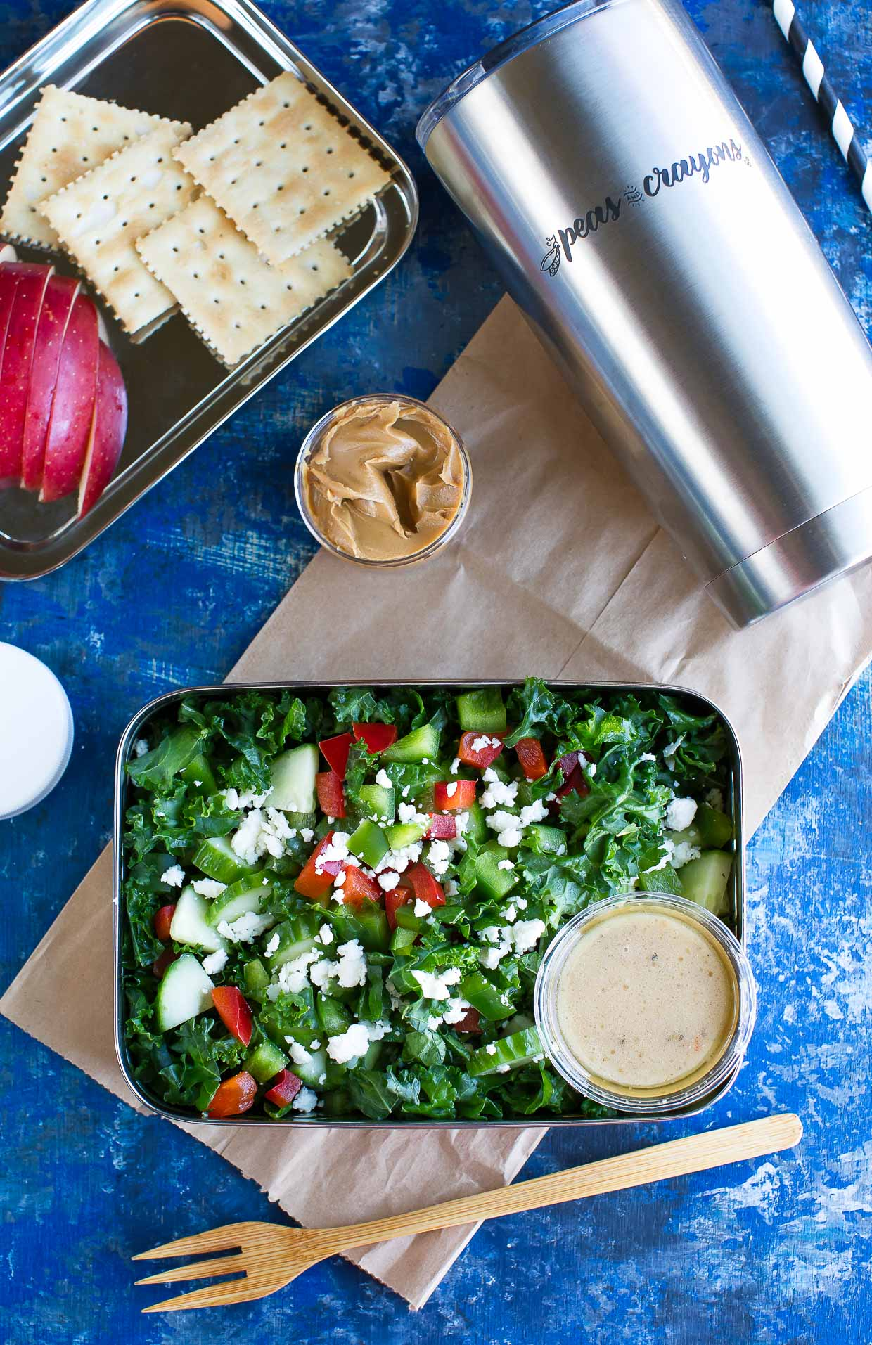 Chopped Greek Kale Salad make-ahead lunch with dressing and snacks