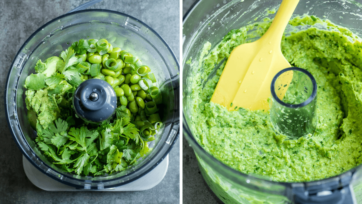 Cilantro Lime Edamame Dip process shot in food processor